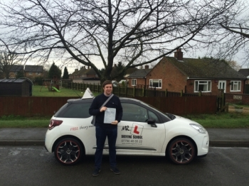 Congratulations to Jamie from Stretham who passed 1st time in Cambridge on the 4-2-16 after taking driving lessons at MRL Driving School